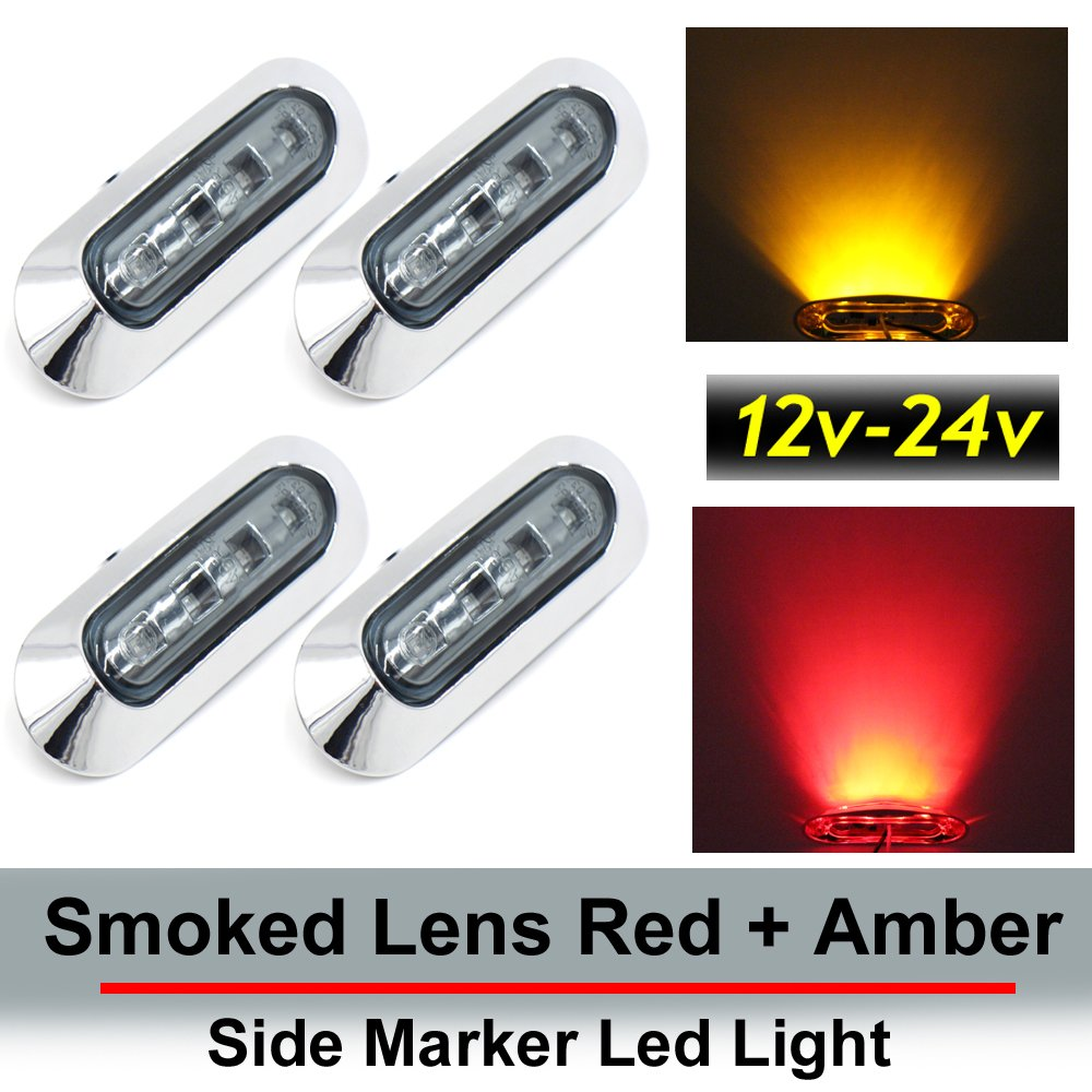"4 pcs TMH 3.6"" submersible 4 LED Smoked lens Red & Amber Side Led Marker ( 2 + 2 ) 10-30v DC , Truck Trailer marker lights, Marker light amber, Rear side marker light, Boat Cab RV"