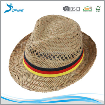 straw fedora hats with germany flag ribbon