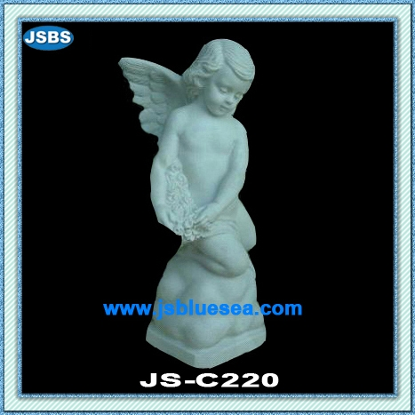 Stone Carved Little Boy Angel Statue