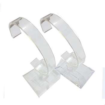 Clear Acrylic Single Watch Display Rack Holder Curved Plastic Wrist Watch Display Stands