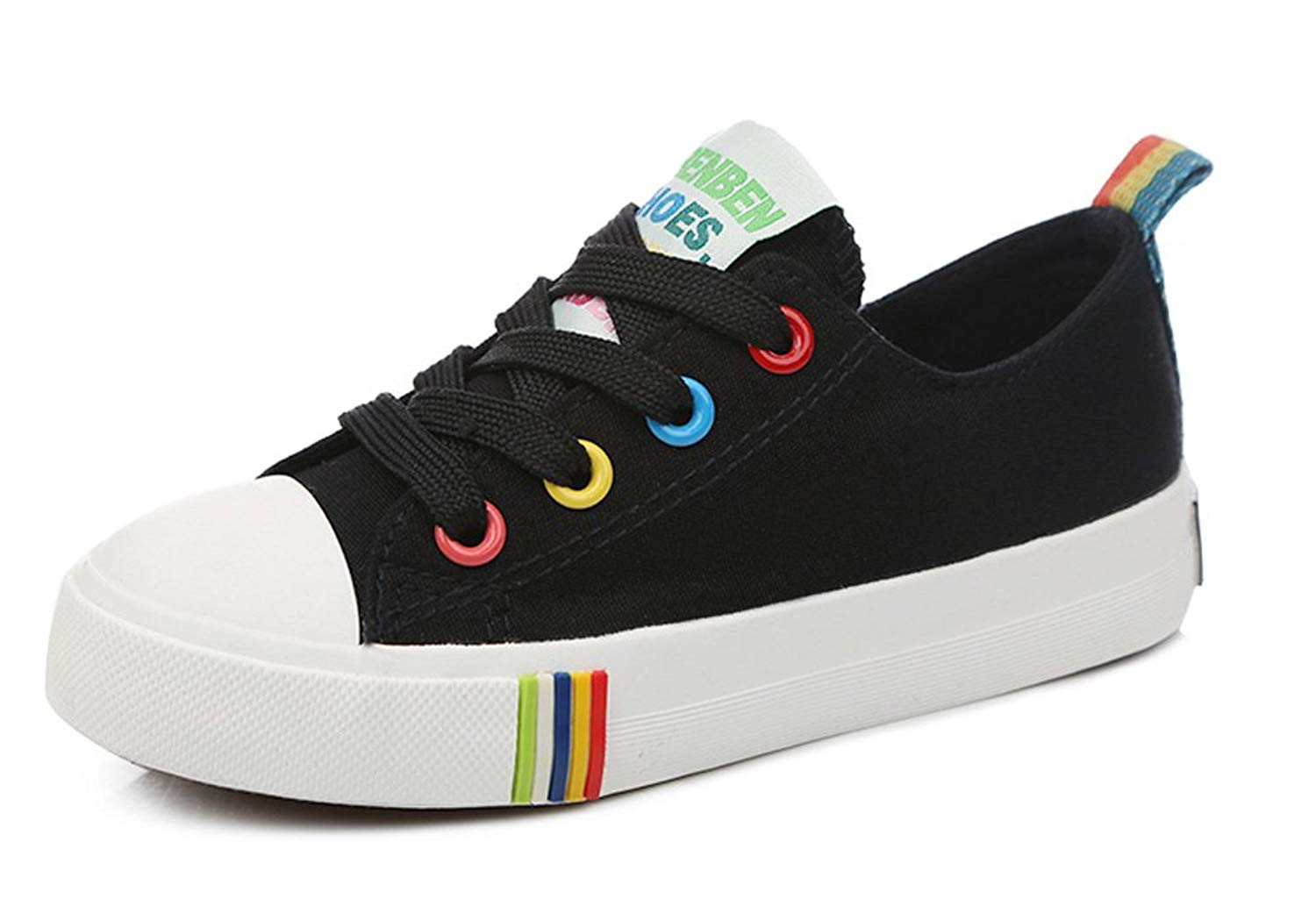 iDuoDuo Kids Rainbow Casual Canvas Shoes Lace-Up Board Shoes Low Top Sneakers (Toddler/Little Kid/Big Kid)
