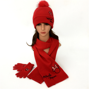 Women Warm Knitted Shawl Wrap Neck Stole Long Scarf Hat Gloves Set