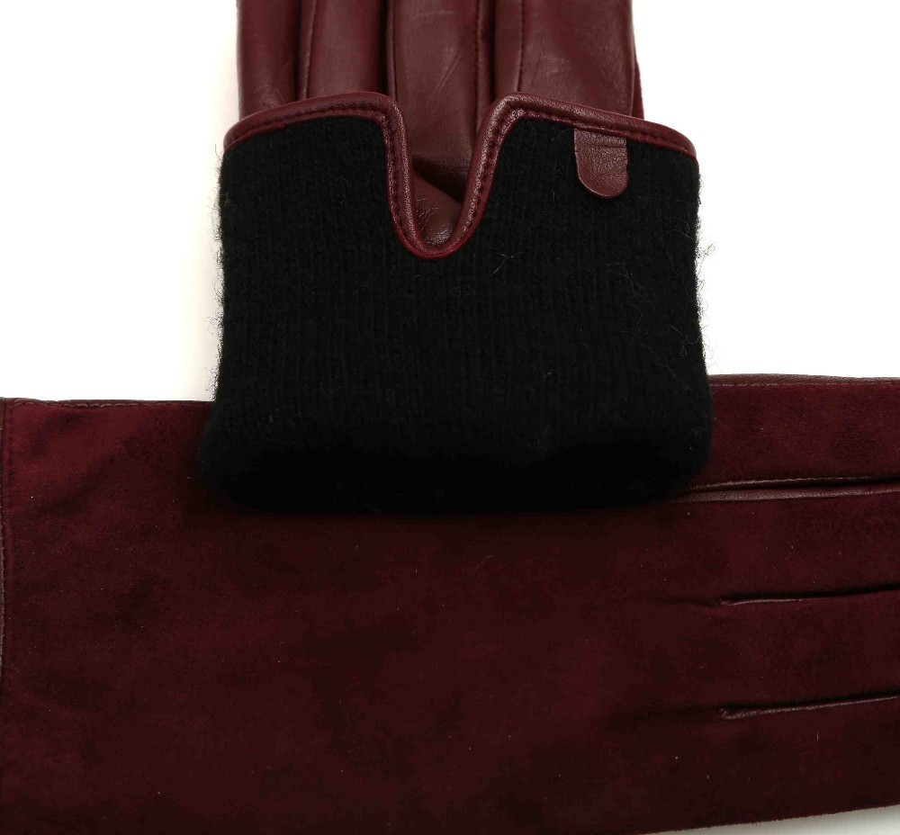 Womens colored leather gloves - Black Color Dressing Women Leather Gloves