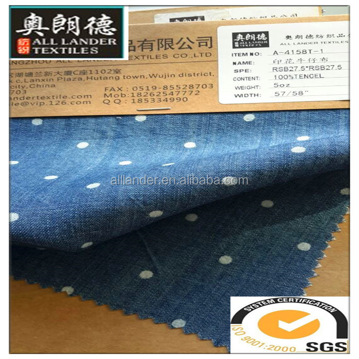 100% Tencel print denim fabric manufacturer from china