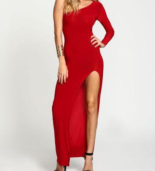 b53e1d753ab6 One Shoulder Dress Pattern Women Long Red Evening Dress with High Slit  Elegant Long Sleeve Evening