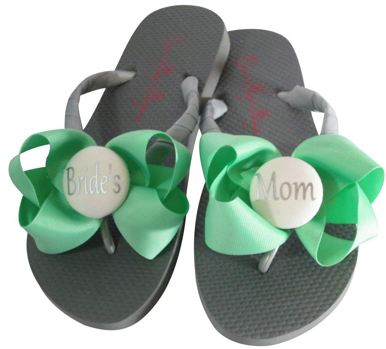 770aa64d2d4b6 Get Quotations · Mint and Silver Gray Bridal Party Flip Flops