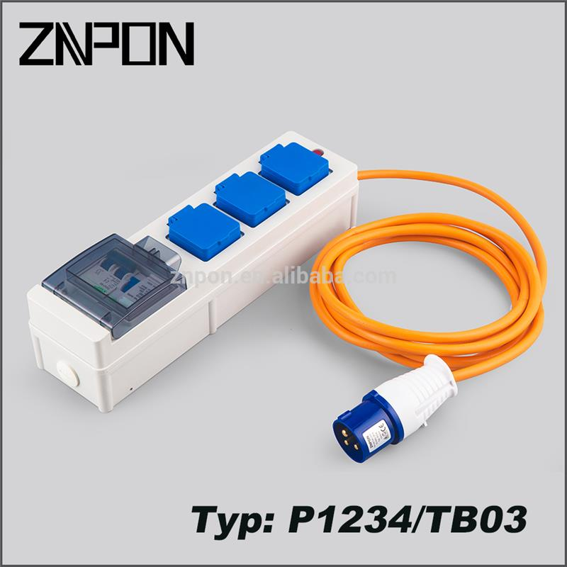 ZNPON P1234/TB03 13A 250V rcd cable lead extension mobile rcd