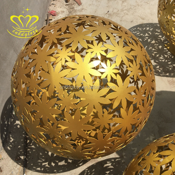 Large Outdoor Home & Garden Decor Abstract Metal Craft New Product Stainless Steel Flower Ball Sculpture