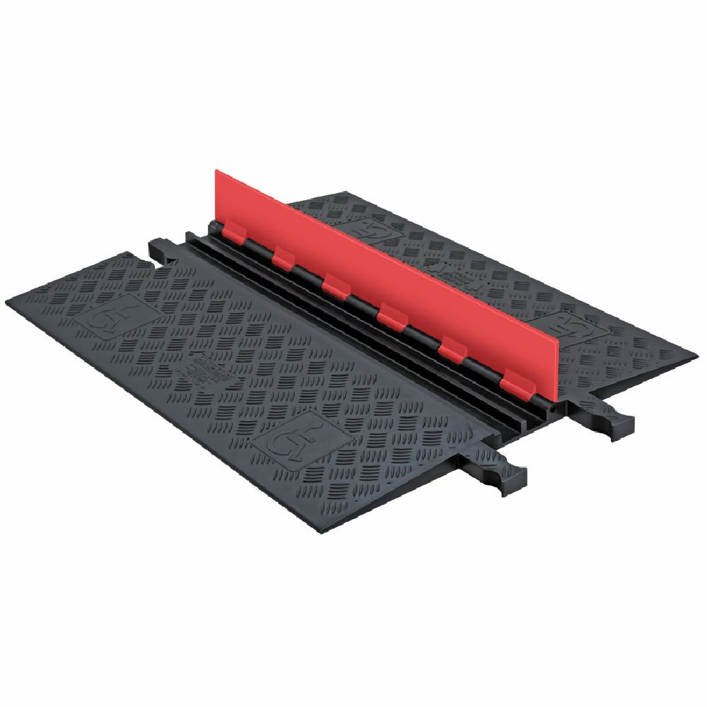 """Guard Dog GD2X75-O/B Polyurethane Heavy Duty 2 Channel Low Profile Cable Protector with ADA Compliant Ramp, Orange Lid with Black Ramp, 36"""" Length, 28.38"""" Width, 1.25"""" Height"""