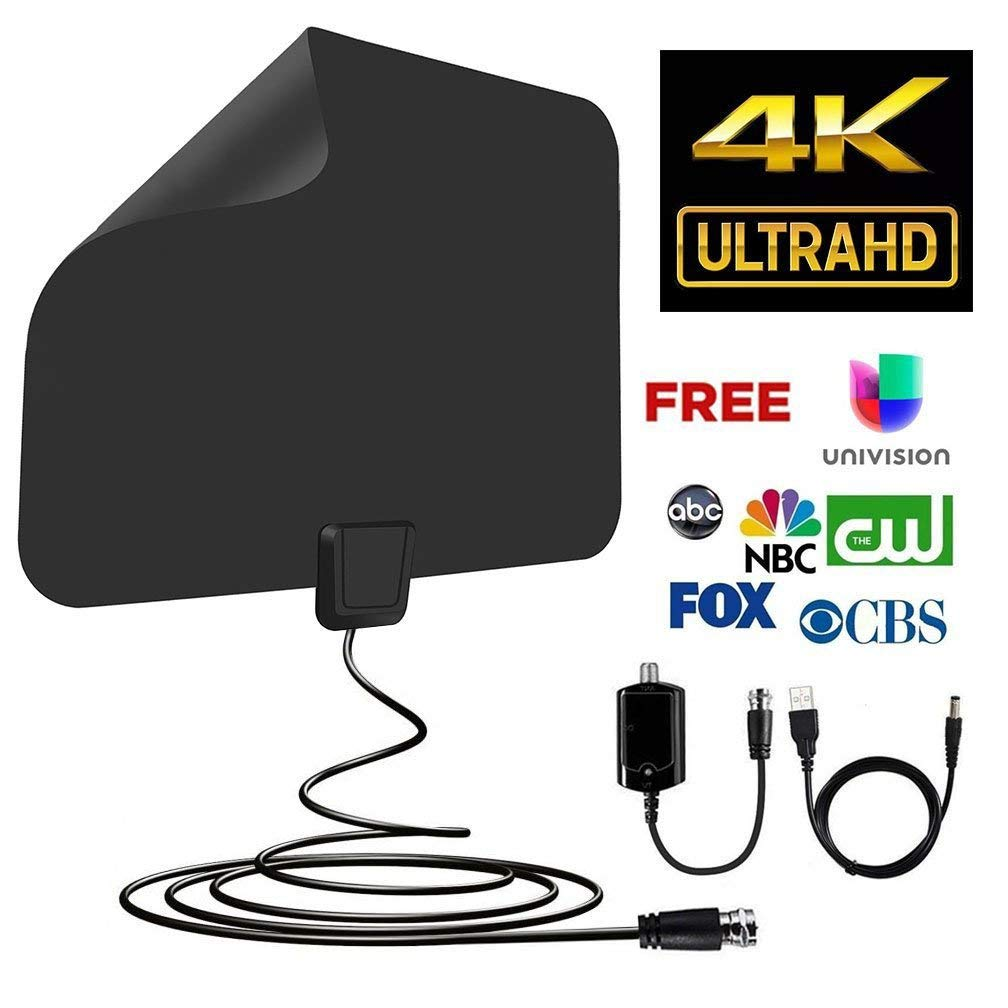 Piixy Upgraded TV Antenna with 60~80 mile Best Reception (2018 Newest version,supports1080p,full HD,4K )