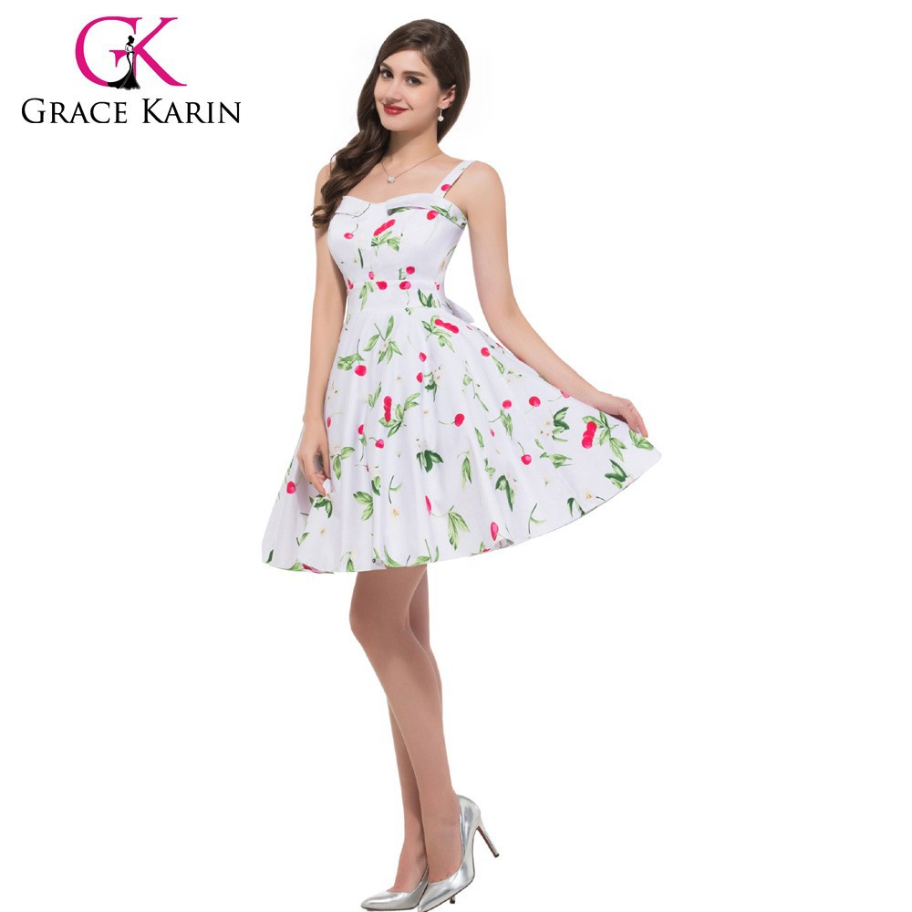 Grace Karin Newest Sleeveless Short Cotton 50s Vintage Retro Style Dress CL6093-11#