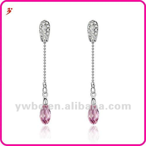 2012 graceful alloy silver crystal stud and long snake chain with pink stone ball drop earring (E101191)