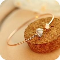 C3 аксессуары в форме сердца двойное в форме сердца браслет кристалл любовь открытия позолоченный браслет женские аксессуары