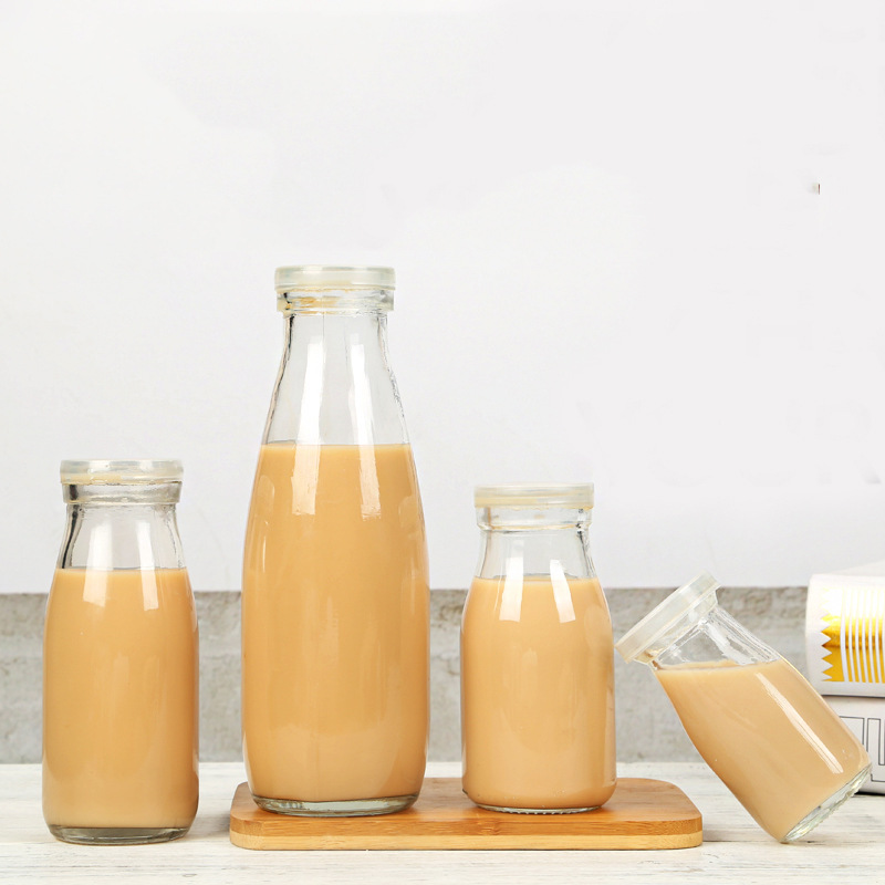 100ml-1000ml empty container milk yogurt glass bottle with plastic cap wholesale