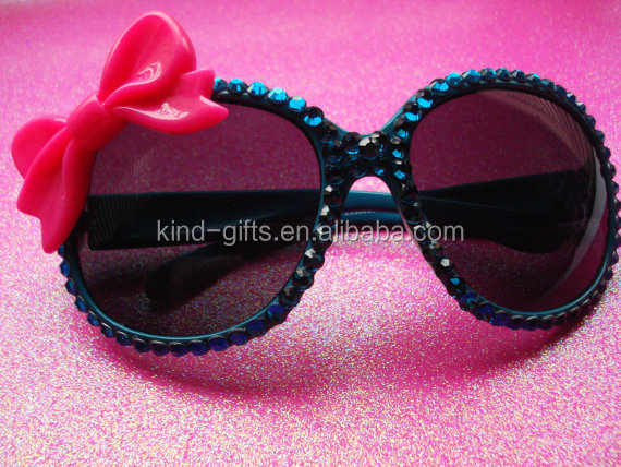 Bling bling fashion women use sun glasses with handle crystal element