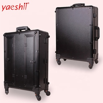 Yaeshii 2019 Professional Aluminum frame Rolling Studio Makeup Artist Cosmetic Case Beauty Trolley suitcase LED Light Mirror Box