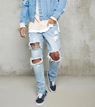 High Quality  Distressed  Mens  Denim jeans