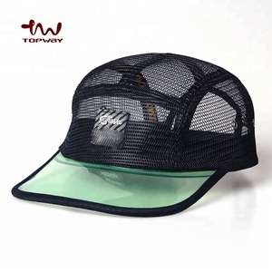 705b7d7f5 Custom Woven Patch Snapback 5 Panel Camp Cap Mesh Hat With Dark Transparent  Visor For Running Outdoor