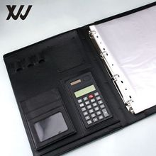 A4 PU leather portfolio conference folder with 4 ring metal binder