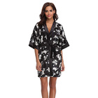 OEM Sexy Hot Women Kimono Robes Silk Satin Floral Print Bridesmaid Wedding Robe