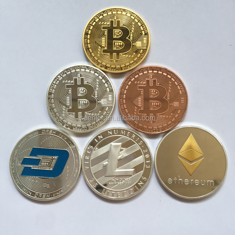 iron stamped bitcoin gold silver copper plated crypto coins dummy virtual coins