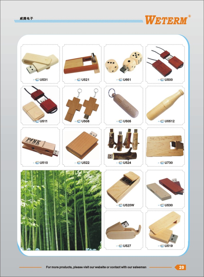 BSCI passed 3D logo wood crystal usb flash drive