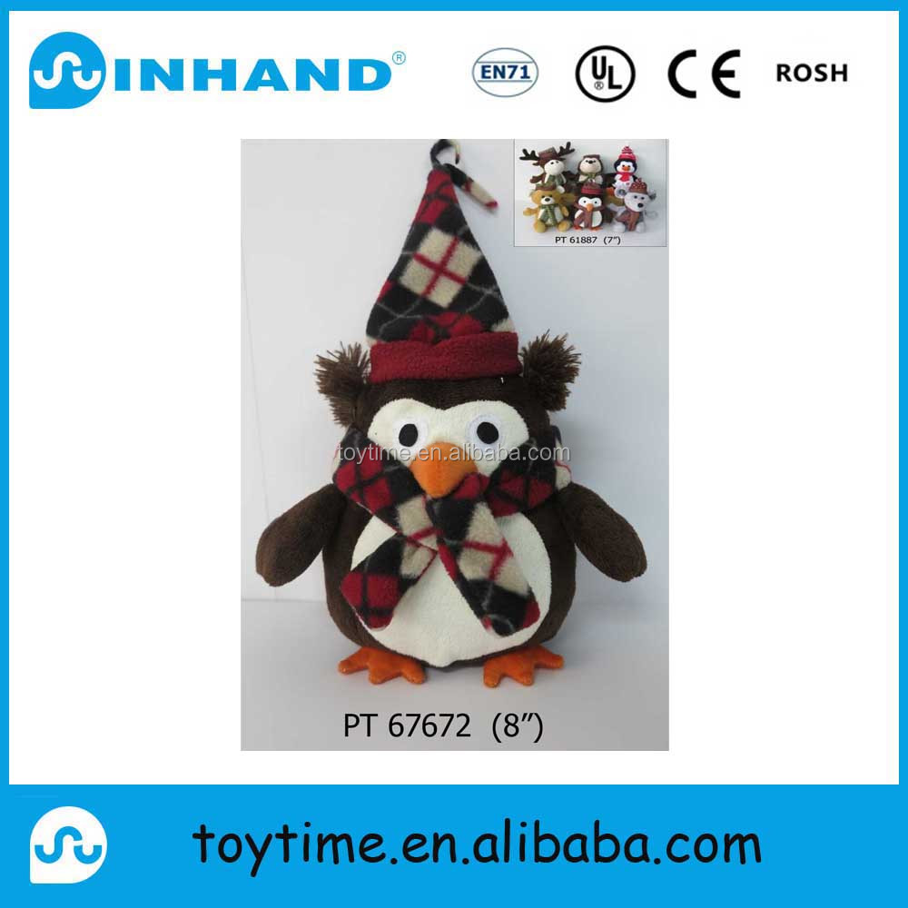 plush toys penguin with christmas cap