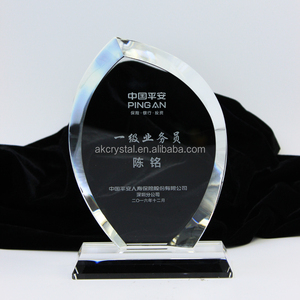 Hot fashion business gift award trophy, sand blasting technique beveled flame shaped crystal award
