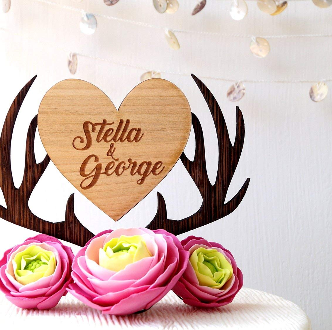 Personalized cake topper, deer antlers cake topper, custom cake topper, antlers heart topper, wooden rustic cake topper, names cake topper