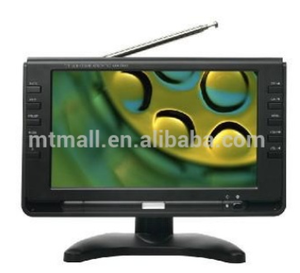 "9"" rechargeable portable digital television with ATSC turner and USB SD"