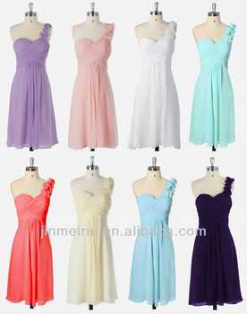 One Shoulder Flowers Padded Ruffles Bridesmaid Dress 8 Colors Short Bridesmaid Dresses Cheap DB98