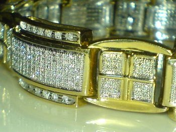 Mens 9ct Gold 4 00 Carat Natural Diamonds Bracelet Heavy In
