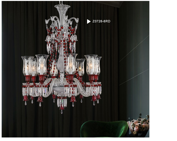 Baccarat Style 48 Light Red Crystal Chandelier