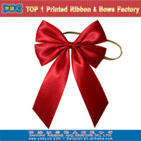 Christmas red satin ribbon bow with elastic loop
