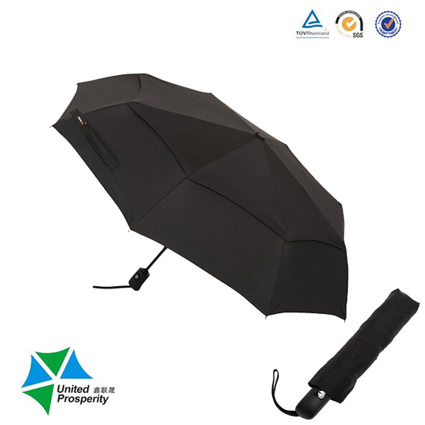 Portable Automatic Black Fold Travel Umbrella with Wind Vent