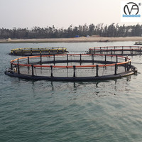 2015 Hot Sales Circle floating aquaculture fish farming cages made of PE knotless net