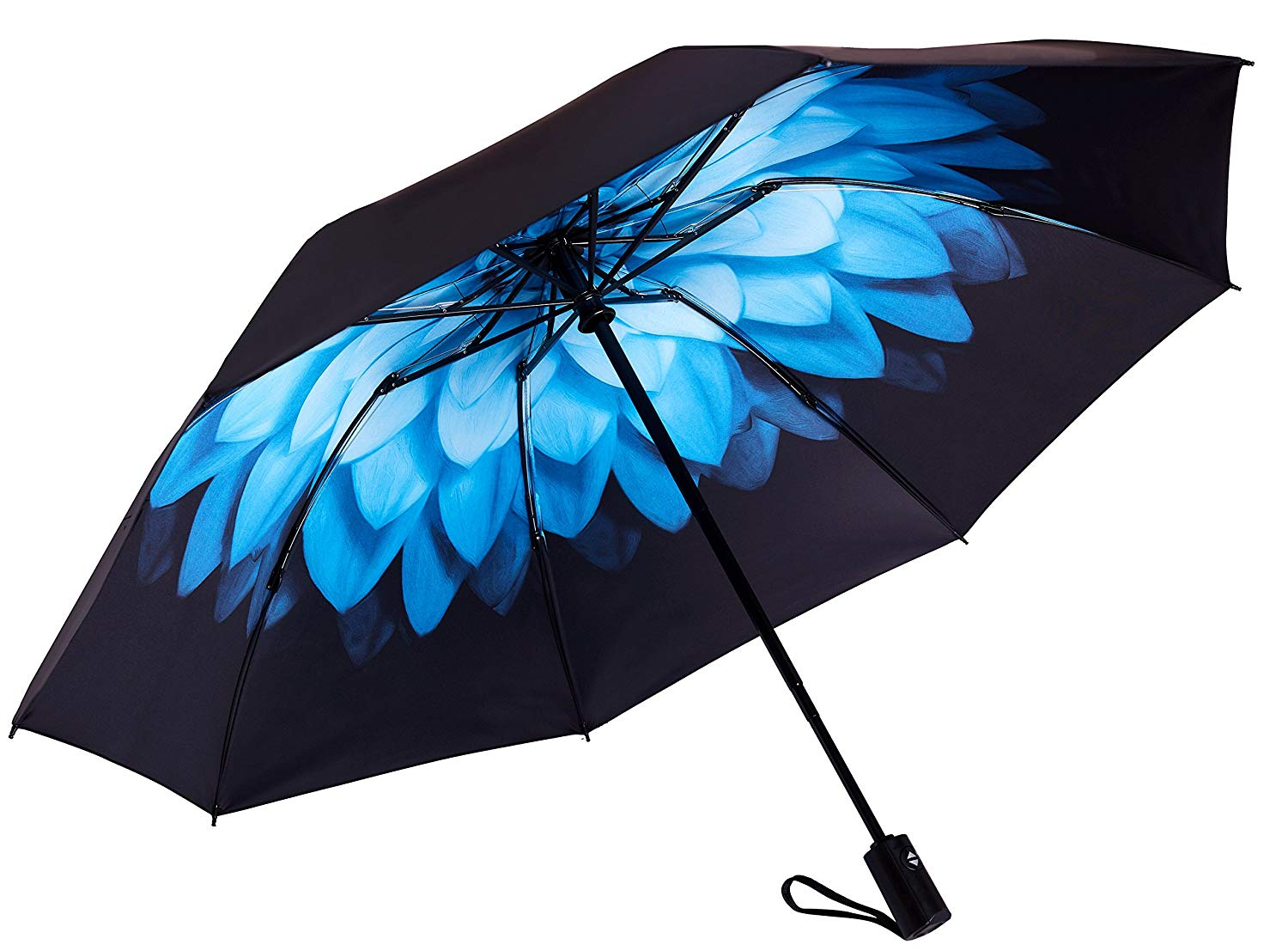 Wholesale Stripe Print Inside Reverse 3 Folding Windproof Auto Open Close Car Umbrella with Logo Print