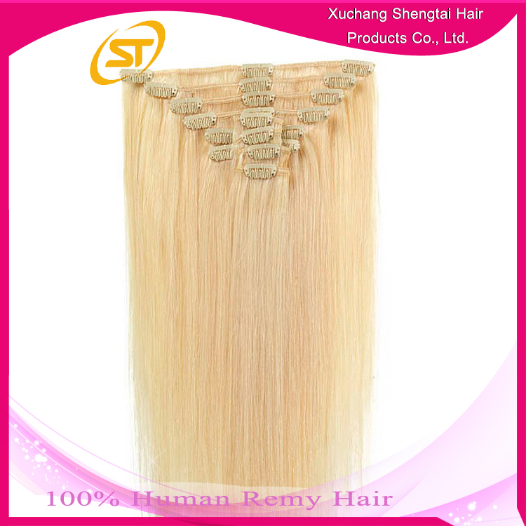 Remy Hair Color 613 Curly Blonde Clip In Hair Extensions For White ...