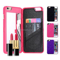 Fashion Multifunction Make UP Mirror Card Slot Wallet Case For Iphone 6 6S