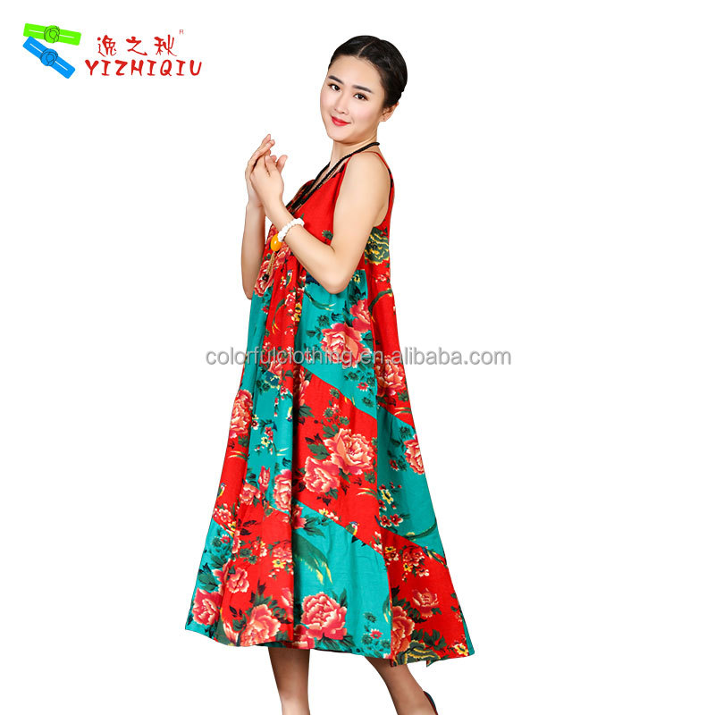 Chinese Style A-Line Summer Off Sleeve Flower Dress For Women