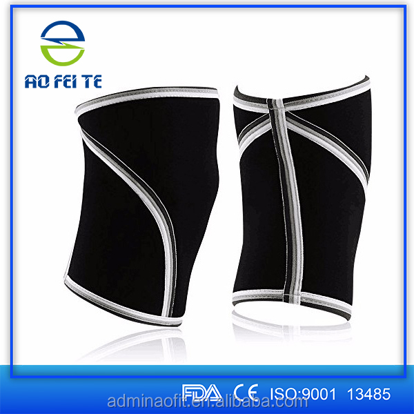 Aofeite ce & fda thick Neoprene Material 7mm Knee Support Crossfit Weight Lifting Knee Sleeve Brace