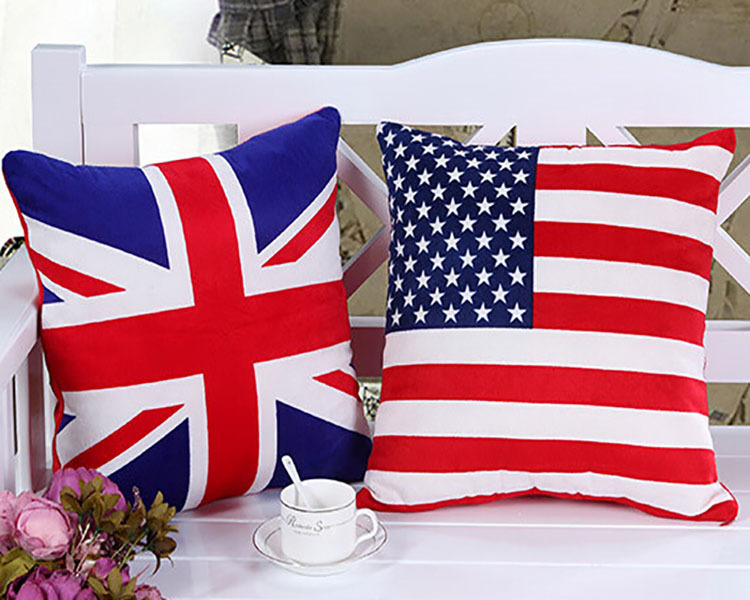 custom print cotton linen outdoor cushion cover /national flag image square throw pillow case