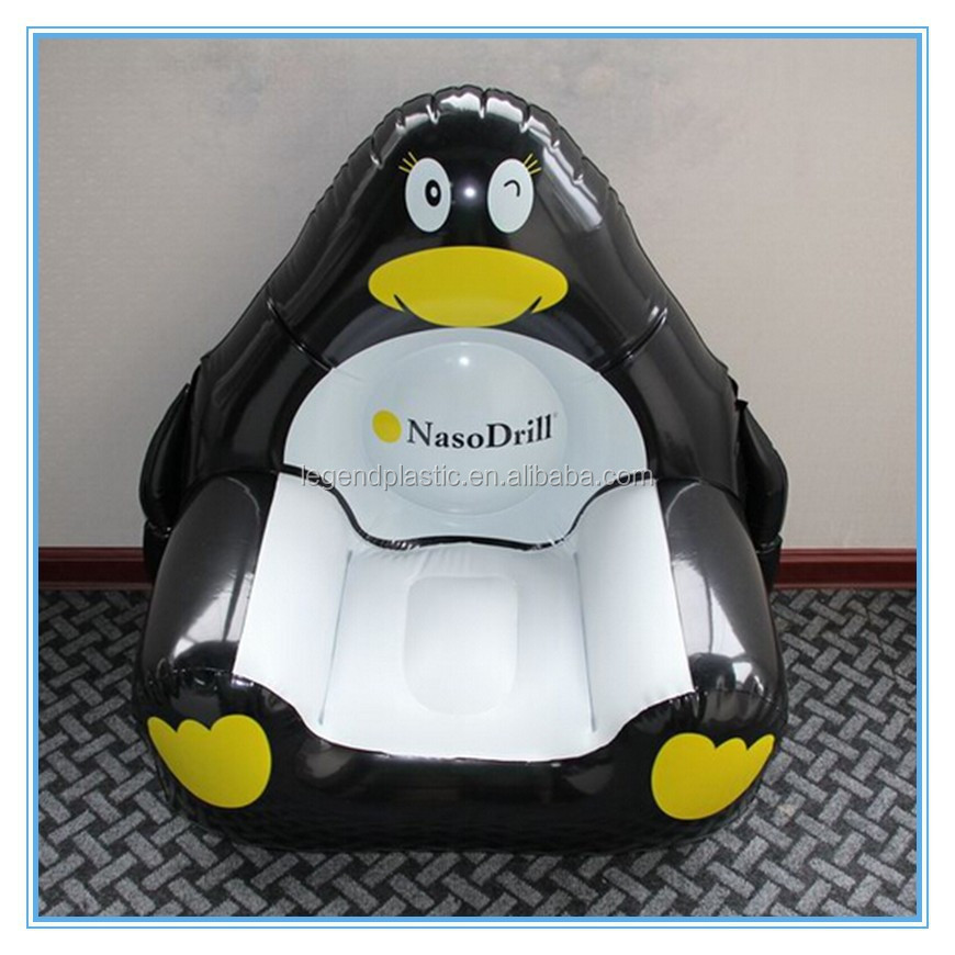 Inflatable penguin chair, pvc inflatable animal sofa chair for sale