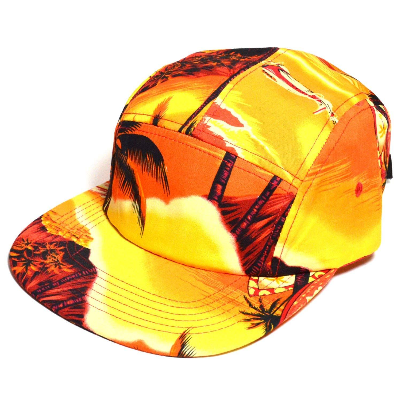 315c33abf0b Get Quotations · Five Floral 5 Panel Flat Bill Hawaiian Tropical Camp Cap  Hat Surf Strap Cotton Snapback