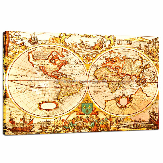 Buy cheap china antique world map products find china antique world antique world map canvas artoffice decoration map canvas printdropship home goods wall gumiabroncs Images