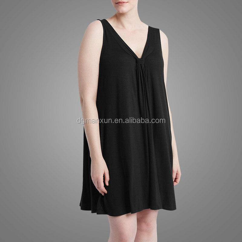 Summer Plus Size Dress Fashionable Dress for Fat Women Black V-neck xxl Size Women Casual Dress