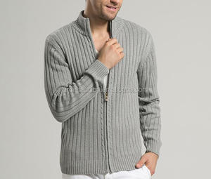 OEM custom mens turtleneck heavy cable knitted zip cardigan