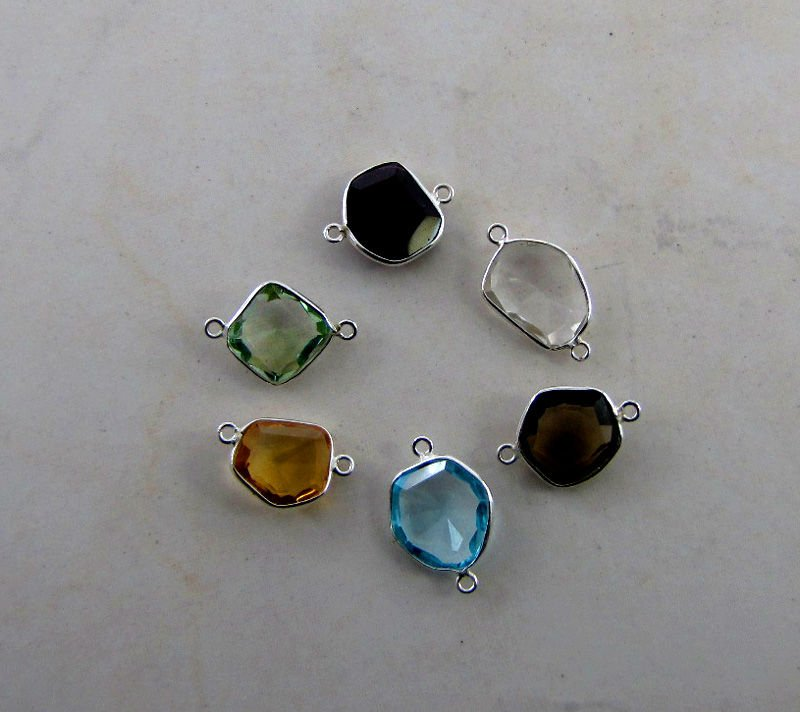 Gemstones Connectors, 925 Sterling Silver Gemstone Bezels, Silver Jump Rings