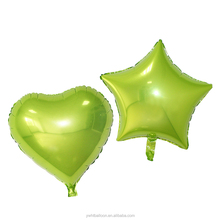 18inch lime green Star and Heart Helium Foil Balloon for Summer Party Decoration