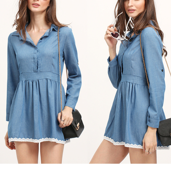Oem Designs Lace Cover Up Denim Shirt Ladies Denim Dress Formal Wear